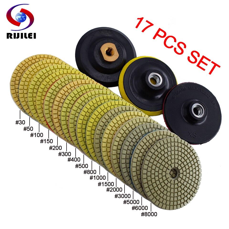 RIJILEI 17PCS 4inch Diamond Polishing Pad Kit 100mm Dry/wet Polishing Pads For Granite Marble Concrete Floor Grinding Discs