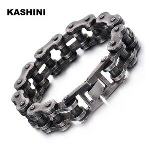 Image 1 - Mens Motorcycle Chain Bracelet Black Bracelet Punk Bike Chain Bracelet Stainless Steel Retro Motorcycle Bracelet Wholesale