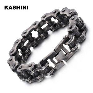 Image 1 - Pulsera de cadena de motocicleta para hombre, pulsera negra Punk de cadena para bicicleta, pulsera Retro de acero inoxidable para motocicleta, venta al por mayor