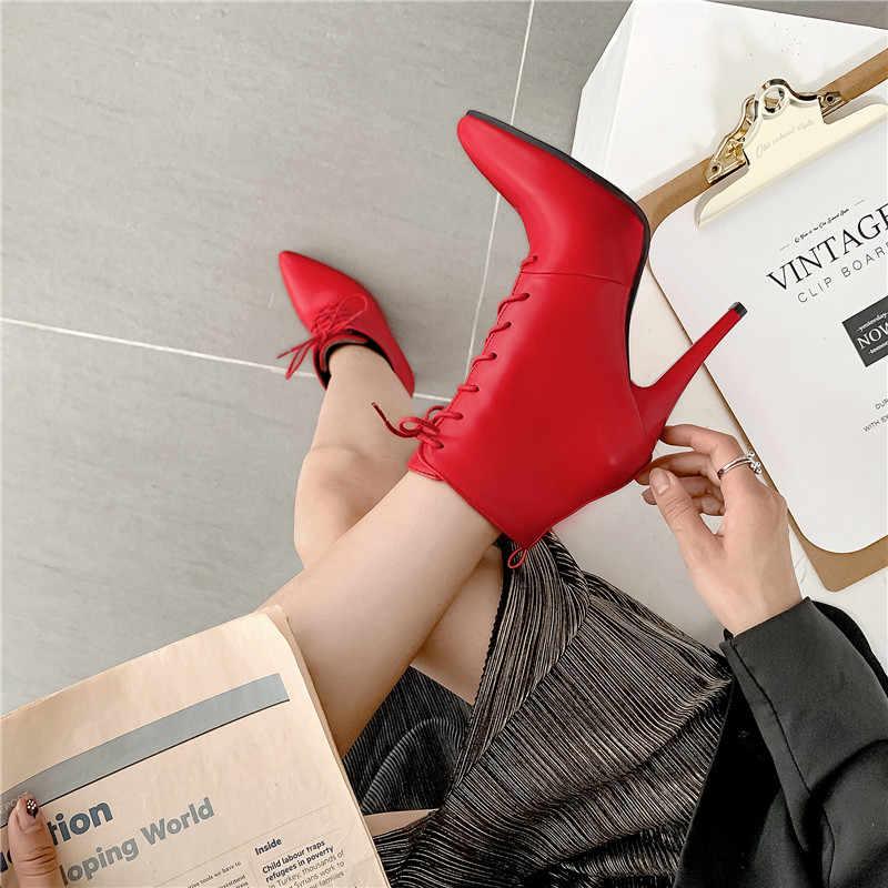 MoonMeek artı boyutu 34-48 moda yarım çizmeler kadın sivri burun lace up sonbahar kış çizmeler seksi balo bayan botları 2020 yeni