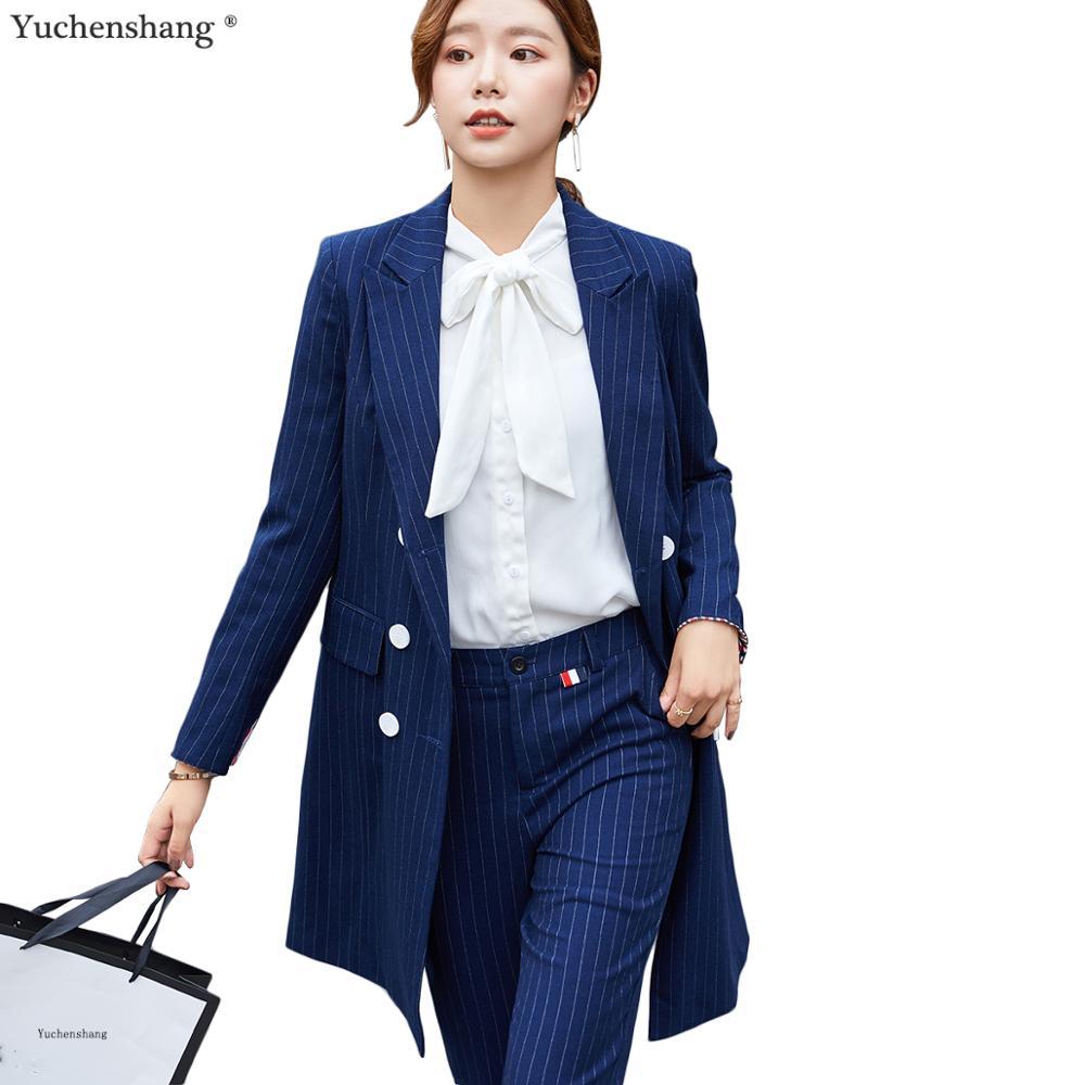 Formal Women Blazer Pant Suit For Office Lady Long Stripe Blazer Suit Sets Black Blue Jacket and Pant 2 Piece Sets