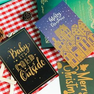 Image 3 - 60pcs Christmas Postcards Set Gift Cards Postales Cute Santa Snowman Post Card Holidays Decorative DIY Wholesale