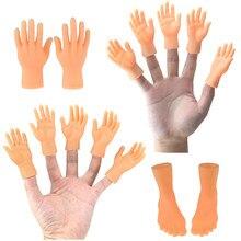Mini engraçado dos desenhos animados dedo mãos e dedo pés conjunto criativo dedo brinquedos de brinquedos em torno da pequena mão modelo de presente de halloween brinquedos