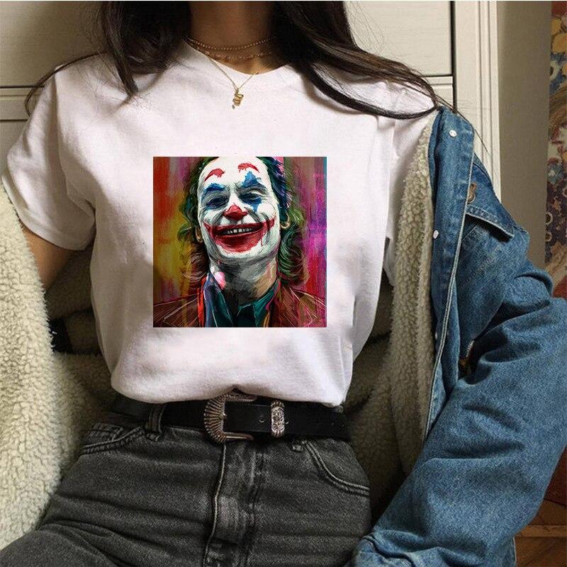 Showtly Joker Joaquin Phoenix Funny WonmenT-shirt Gothic White Casual Homme TShirt Unisex Streetwear Oversized Tee Tops