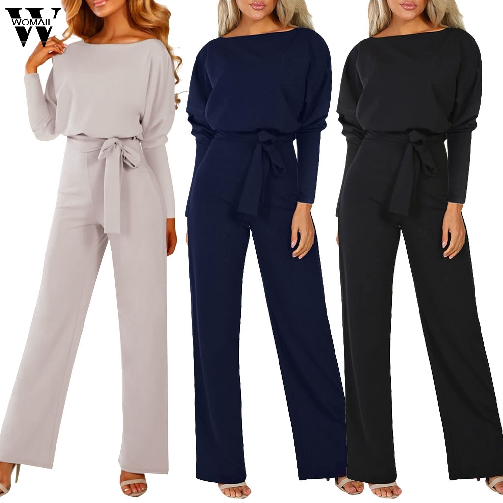 Womail Jumpsuit  Women Elegance Long Sleeve Long Jumpsuit Romper Loose Overalls Fashion Wide Leg Playsuit With Belt Workwear 822