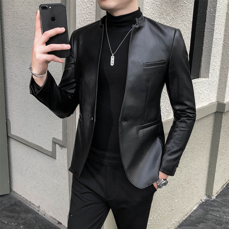 Faux Leather Men Blazer Casual Slim Fit Blazer Masculino PU Suit Jacket Single Button Wedding Business Dress Coat Ropa Hombre 1