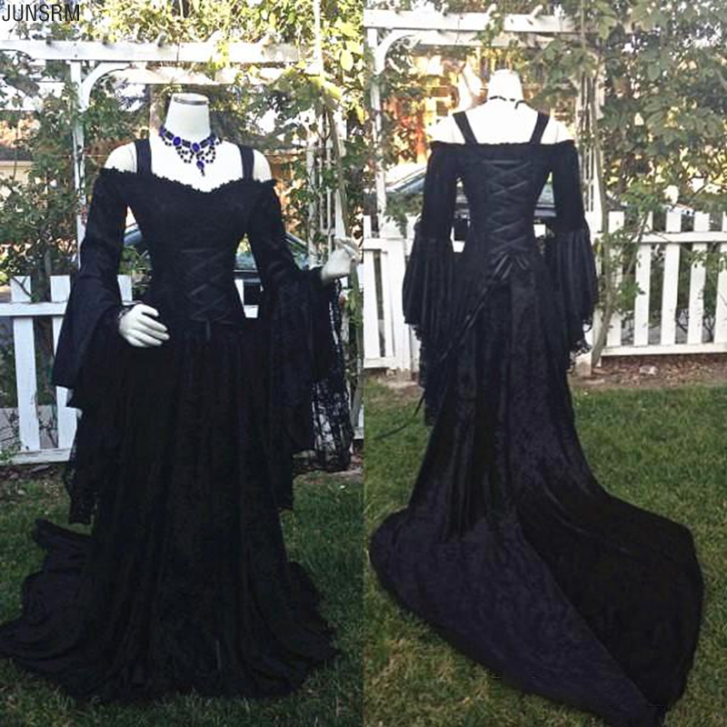 Gothic Style Beauty Black Wedding Dresses Off Shoulder Long Puffy Sleeves Lace Corset Bodice Wedding Bridal Gowns Custom Made