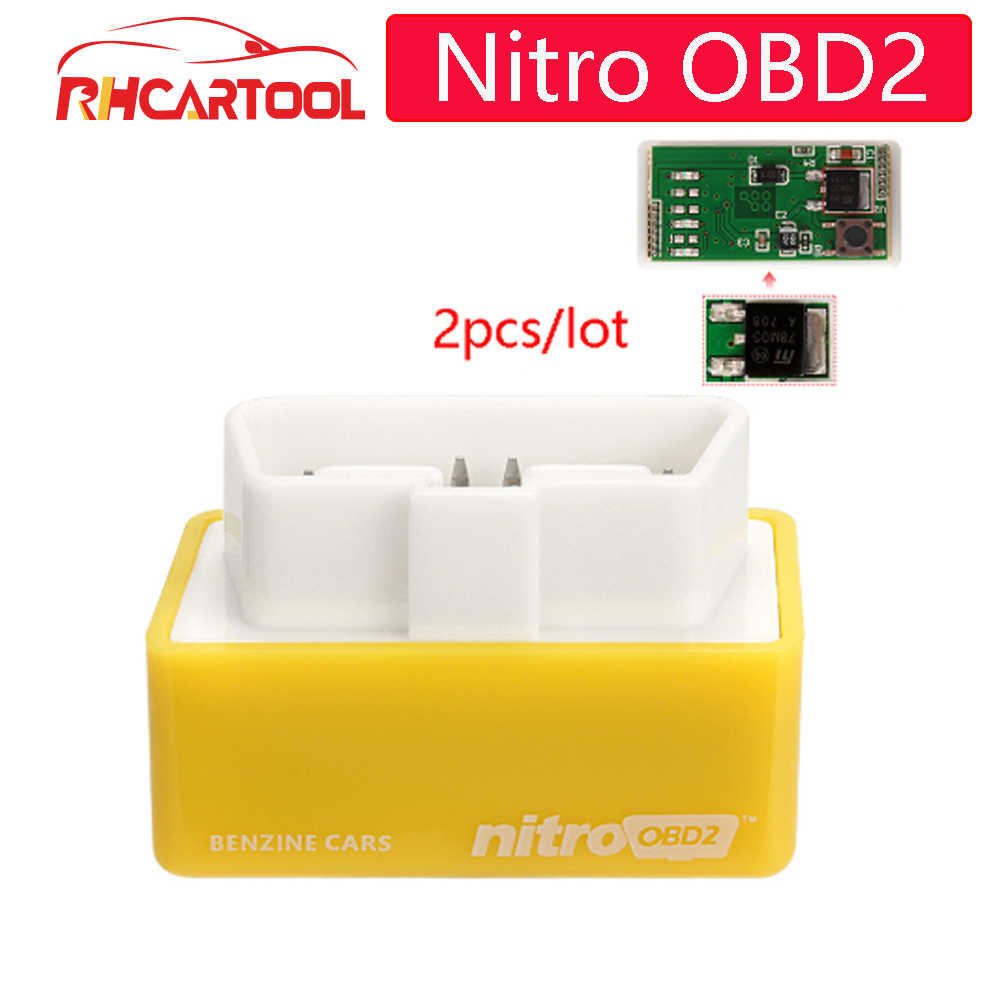 2pcs NitroOBD2 Performance Chip Tuning Box Nitro OBD2 Plug and Drive More Power Torque For NitroOBD Gasoline for Benzine Petrol