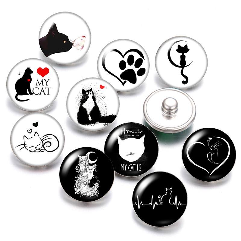 С милым рисунком кота, любимого питомца 18 мм кнопки 10 шт. круглые фото кабошоны разрисованные изделия из стекла стиль для кнопки ювелирные и...