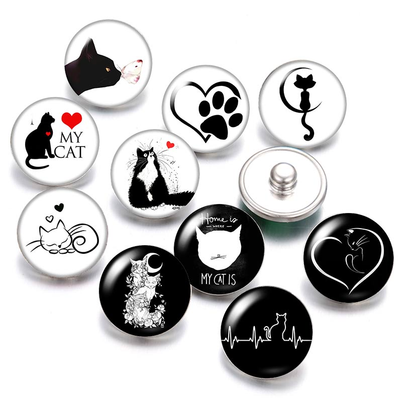 Lovely Cat love Pet 18mm snap buttons 10pcs mixed round photo glass cabochon style for snap button jewelry