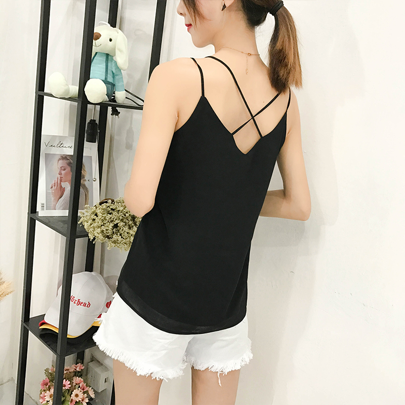 Image 5 - Korean Fashion Chiffon Women Camis Streetwear Sexy Tops Lace Sleeveless Black Female Tank Tops Plus Size XXXL/4XL Pink Shirt-in Tank Tops from Women's Clothing