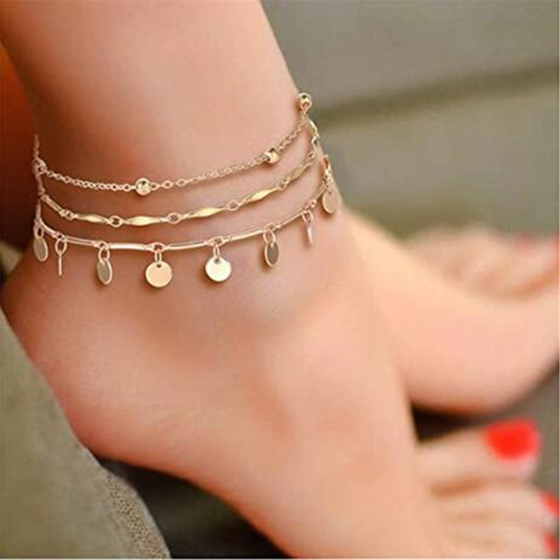 VAGZEB Bohemian Sequins Anklet Set Fashion Handmade Ankle Bracelet for Women Summer Foot Chain Beach Barefoot Jewelry