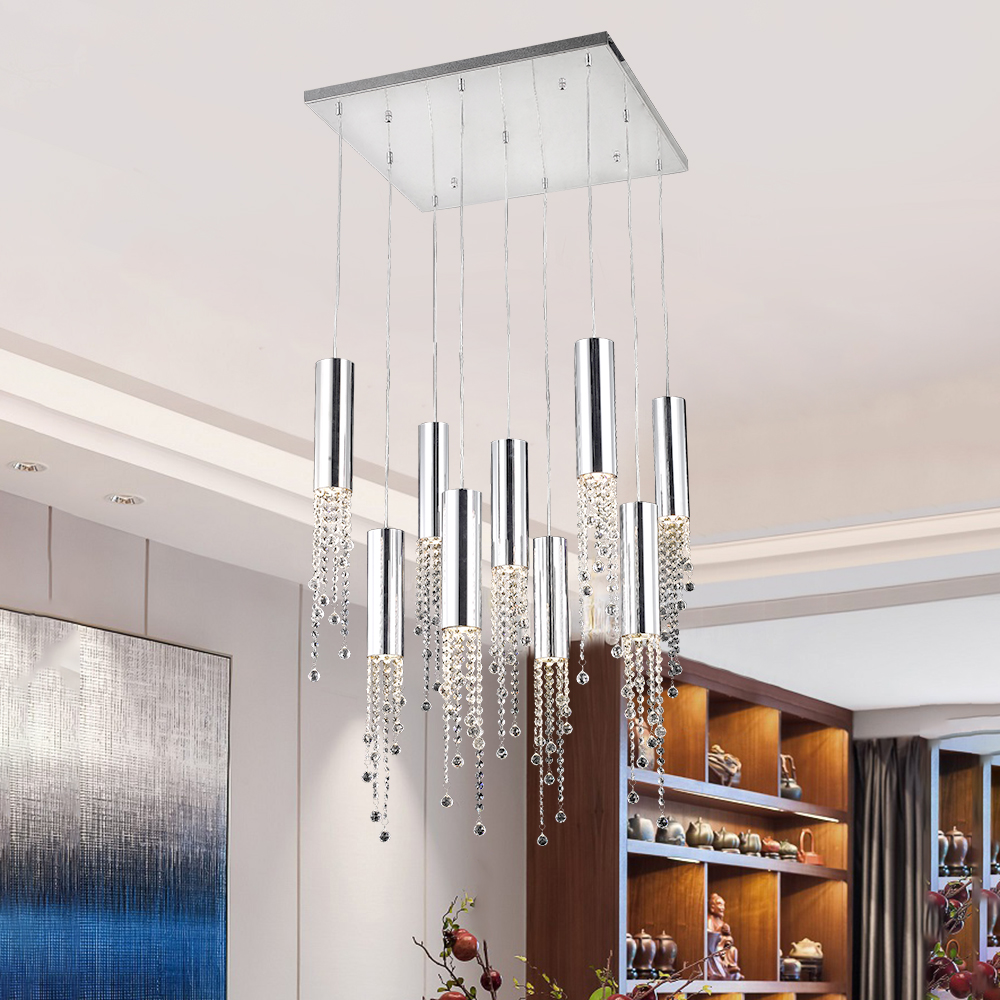 Modern Chrome Crystal Chandelier Lighting Long Loft Staircase Indoor Lighting Large Hallway Lobby Kitchen Island Light Fixtures