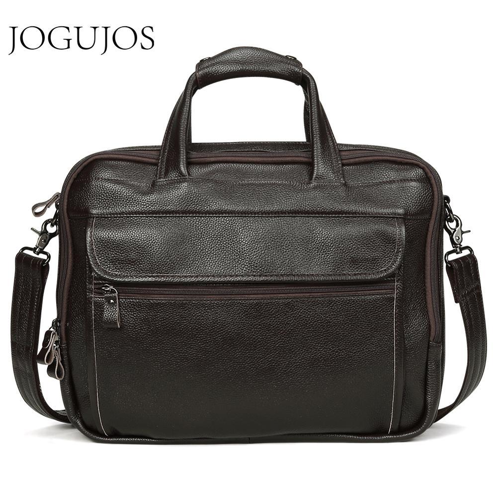 JOGUJOS Luxury Designer Men's Briefcases Genuine Leather 15