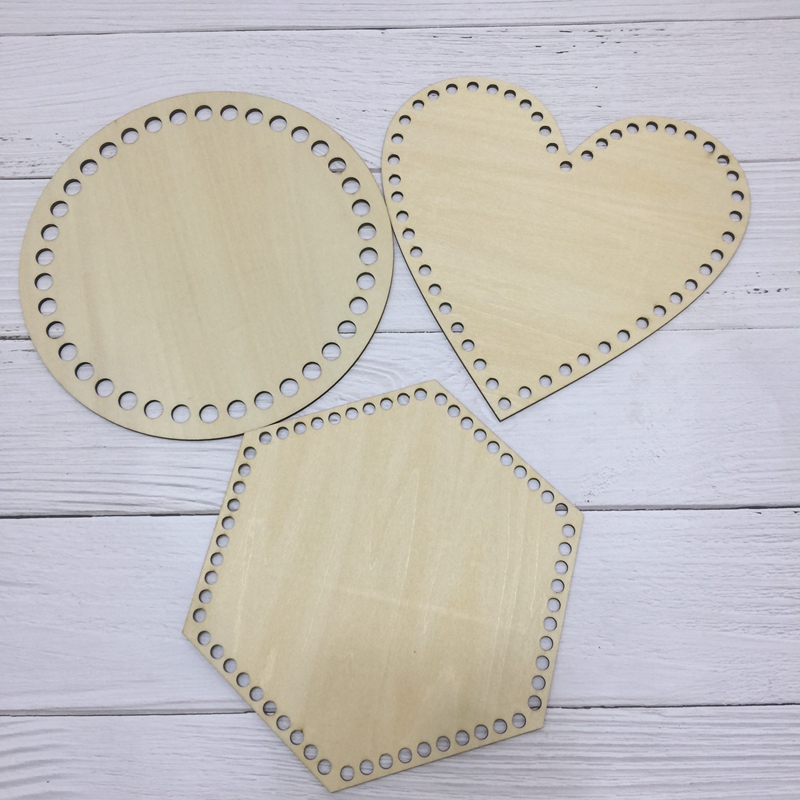 3pieces7.9inch Circle Heart Hexagon Laser Cut Wooden Bottom Base For Basket Unfinished Wooden Handmade Wood Craft Cross Stitch