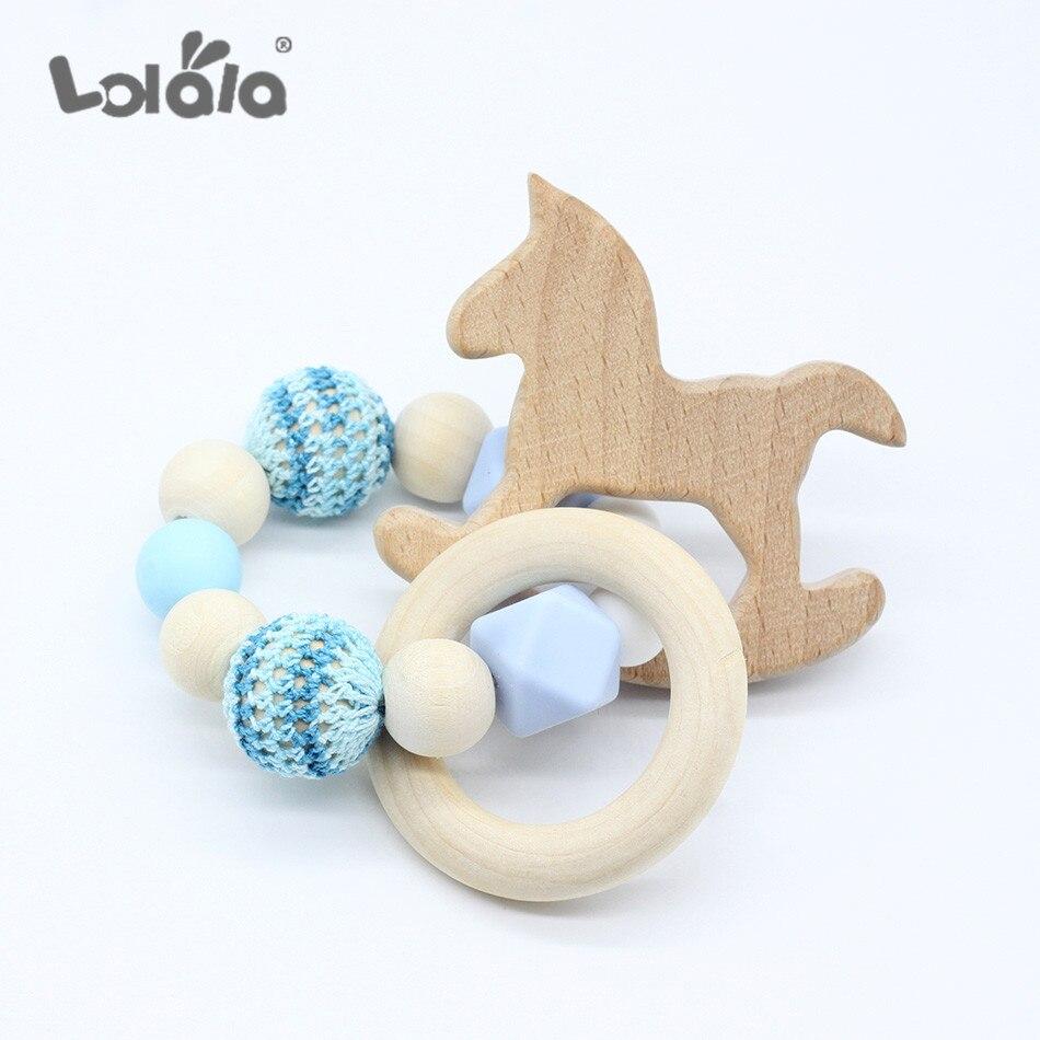 Baby Teether Beech Silicone Beads Horse Wood Teething Toys Baby Rattle DIY Chewable Crochet Beads Baby Teether Bijtring