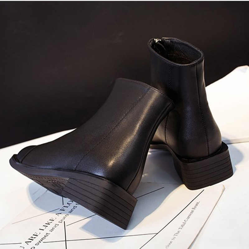 Ön fermuar çizmeler kadın 2019 kış yeni kısa çizmeler artı kadife Net kırmızı kısa çizmeler kaymaz su geçirmez kar botları kadın