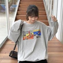 Korean Cartoon Print Spring T-Shirts Vintage Harajuku Cotton Shirts Long Sleeve Casual Letters Oversized Tops Boyfriend Z068