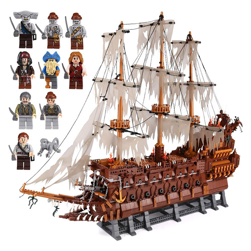 Dutchman Netherlands Ship Set Creator MOC Pirates of the Caribbean boat Building Blocks Bricks Model Boat toys