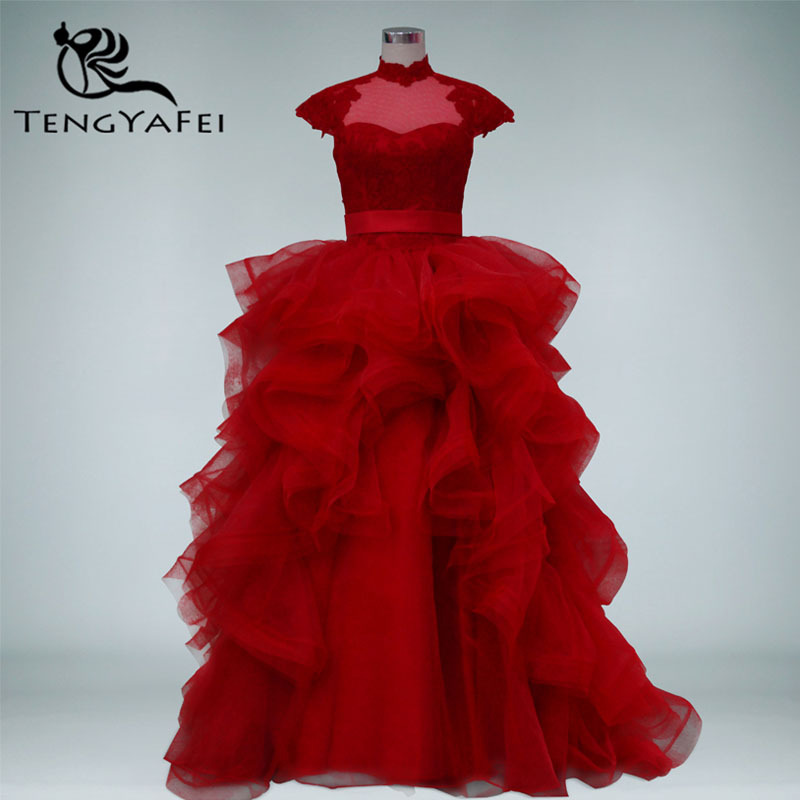 New Fashionable Ruffles High Neck Vestido De Novia Casamento Bridal Gown Sexy Backless Red Lace 2018 Mother Of The Bride Dresses