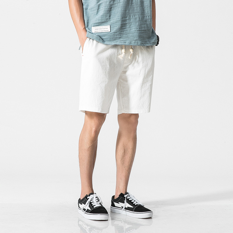 Chinese-style Cotton Linen Shorts Men's Casual Pants Shorts Linen Fabric Loose-Fit Shorts