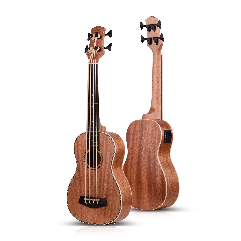 30 Inch Electric Bass Ukulele Ukelele Uke Sapele Plywood Body Padauk Fretboard Rubber Strings Built-in Tuner EQ 3m Audio Cable