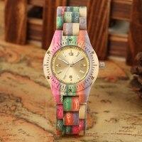 女性木製腕時計 100% 手作りナチュラルカラフルな竹クォーツ腕時計デザイン高級 Montre バンブー Dama マデラ Relojes デ Mujer