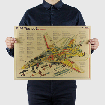 AIMEER Famous fighter series-F-14 Tomcat classic nostalgic retro kraft paper poster decoration wall stickers 51*36cm image