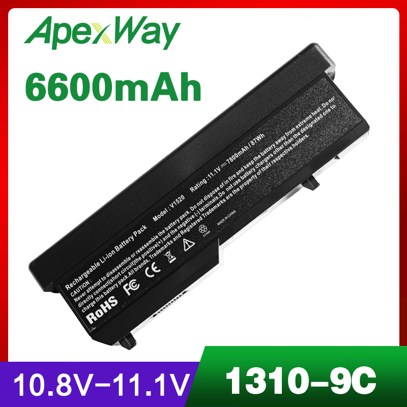 6600mAh Laptop Battery For dell Vostro 1510 1520 2510 1310 1320 0N241H 312 0724 451 10655 K738H N950C T114C U661H