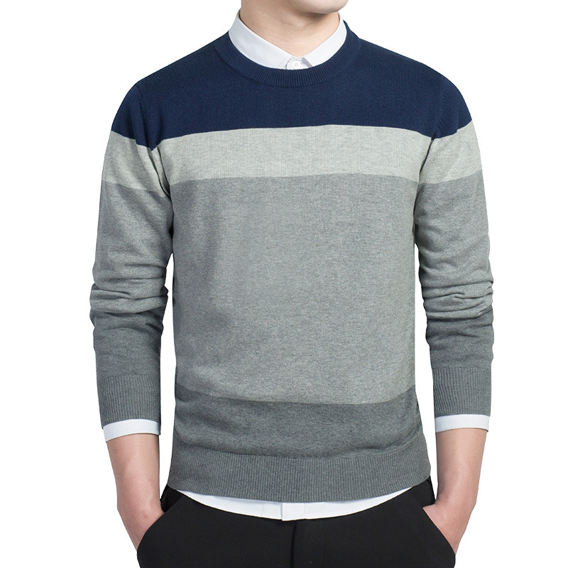 2019 New Fashion Brand Sweater Man Pullovers O-neck Slim Fit Striped Knitwear Autumn Korean Casual Mens Clothes Design SA-8