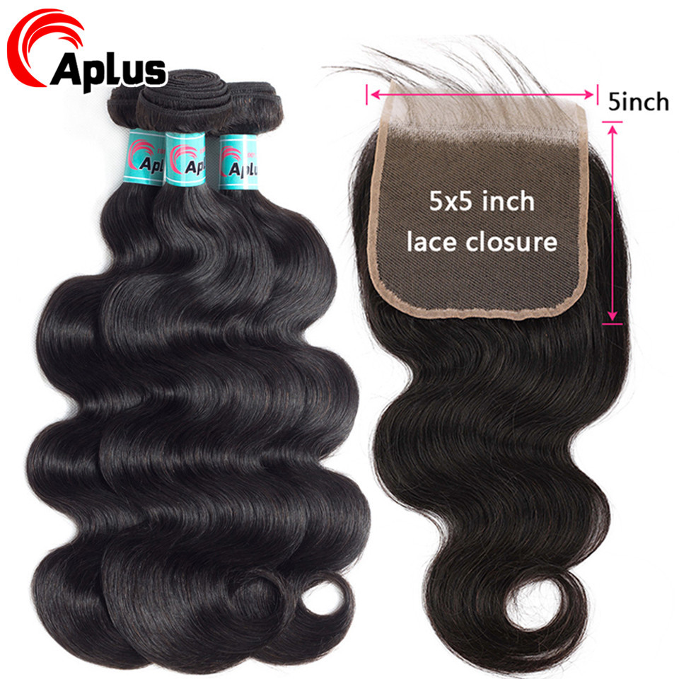 Body Wave Bundles With Closure 5x5 Lace Closure With 3 Bundles Peruvian Human Hair Bundles With Pre Pluck Lace Closure Non Remy