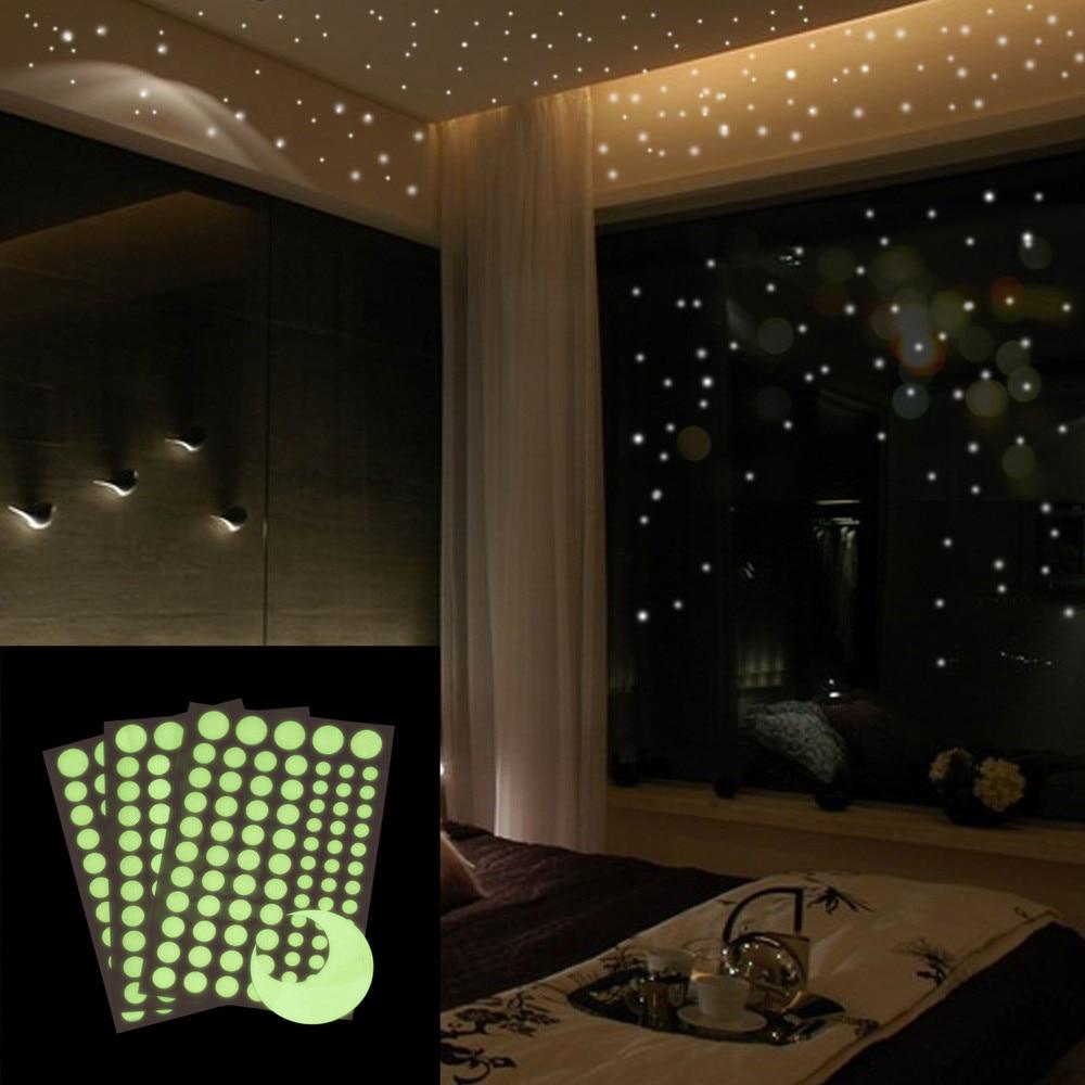 Luminous Wall Decals Removable 3D Moon Sticker Glow in The Dark Wall Decor Window Door Stickers