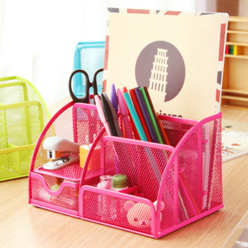 Various Colors 7 Storage Multi-functional Desk Organizer Mesh Metal Pen Holder Stationery Container Office School Supplies Caddy