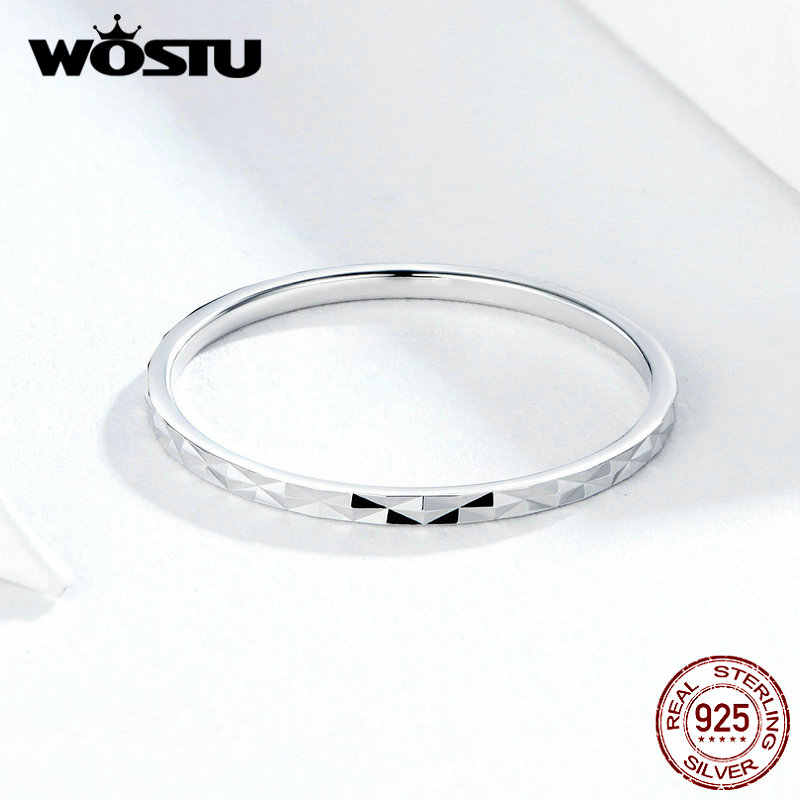 WOSTU חדש הגעה 100% אמיתי 925 סטרלינג כסף מינימליסטי טבעת חמה אופנה CZ טבעות לנשים קיבוץ זה תכשיטי מתנה CQR586