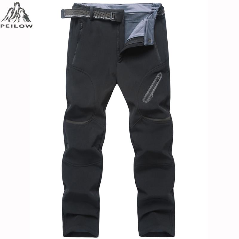 PEILOW Plus Size 7XL 8XL 9XL Pants Men Winter Thick Warm Fleece Shark Skin Trousers Male Waterproof Sweatpants Tactical Pants