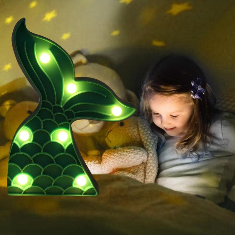 Wall-Lamp Tail-Night-Light Bedroom Decoration Mermaid Home for Kids Indoor