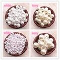 Круглые бусины белого цвета и слоновой кости, 6-16 мм, прямые бусины с имитацией жемчуга, свободные бусины для бижутерии, аксессуары, бусины