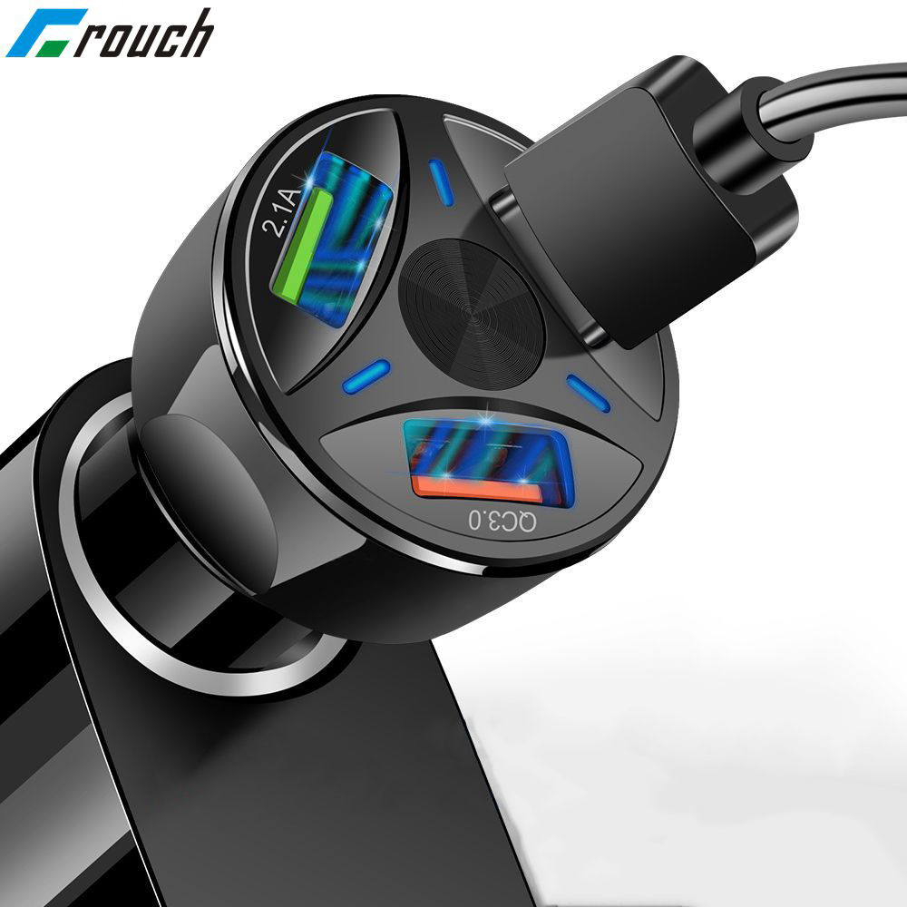 Crouch 3 USB Quick charge QC 3.0 USB Car Charger For iPhone X 7 8 Plus Samsung S10 Xiaomi Car-Charger Mobile Phone fast charger