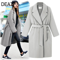 [DEAT] 2019 Women's Autumn Winter Fashion Trend New Pattern Office Lady Lapel Collar Solid length Long sleeved Woolen Coat AI551
