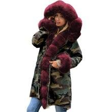 Высокое качество зимняя женская куртка пальто с большим меховым
