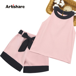 Kids Summer Clothes Girls Patchwork Girls Clothes Set Vest + Short 2PCS Outfits For Girls Casual Style Big Bow Kids Clothing