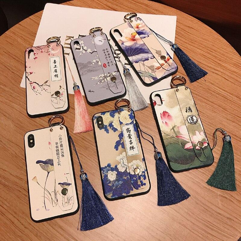 Cozy Matte Phone Case for iPhone X XS XR 11 Pro MAX 6 7 8 Plus SE2 Capa Soft TPU Back Covers Tassel Phone Cases Wrist Strap