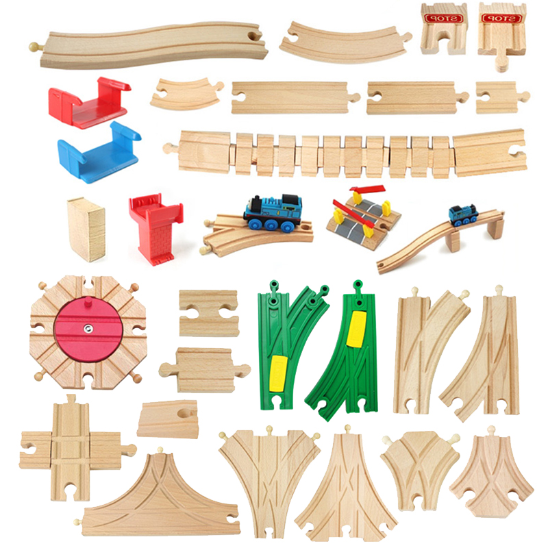 Wooden Train Track Components Beech Train Track Set Children Train Toys Gifts Accessories Educational Wood Block Toy For Kids