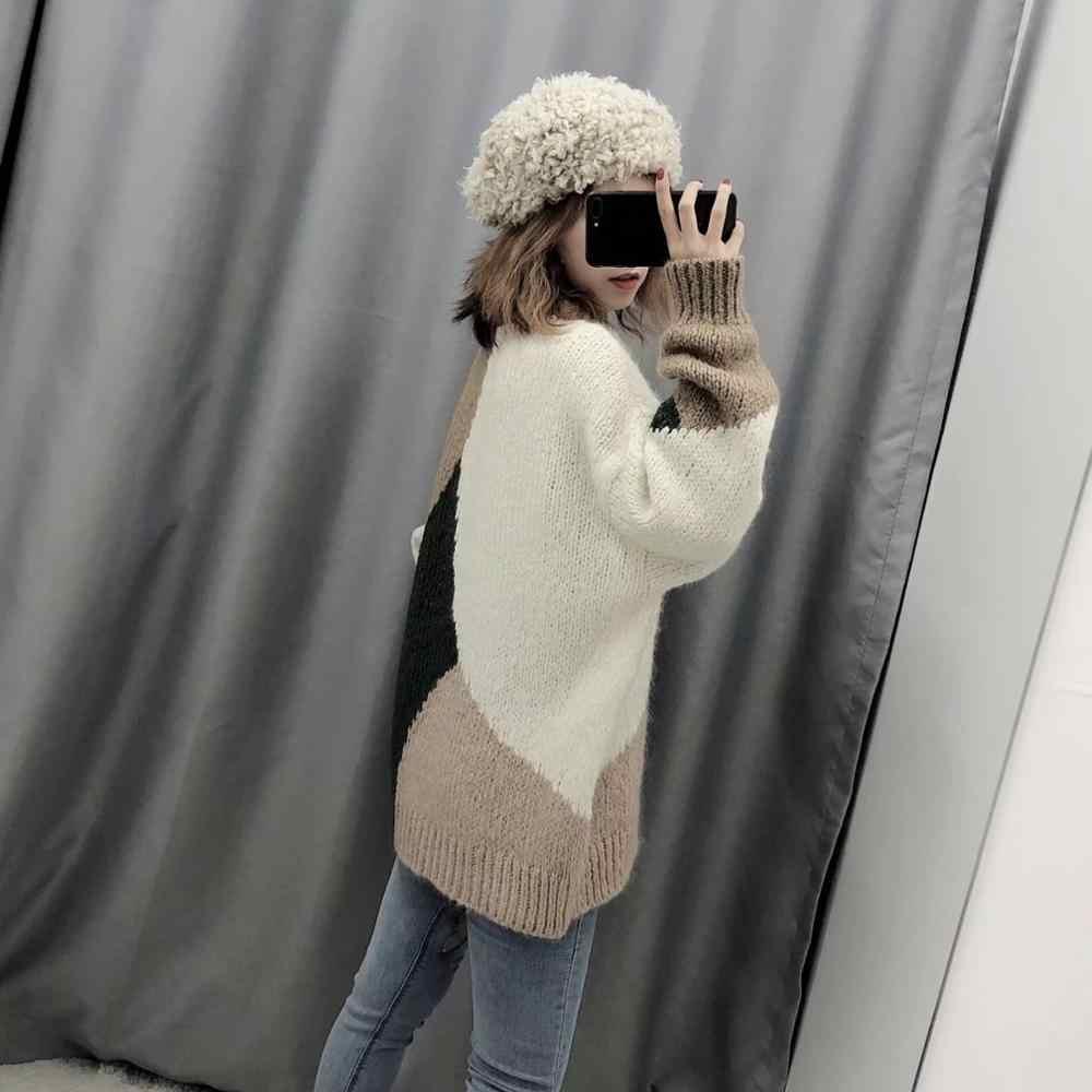 México Nuevo Otoño e Invierno de las mujeres es Irregular vintage suéter de punto de mujer Casual de manga completa Mujer tops ropa de mujer