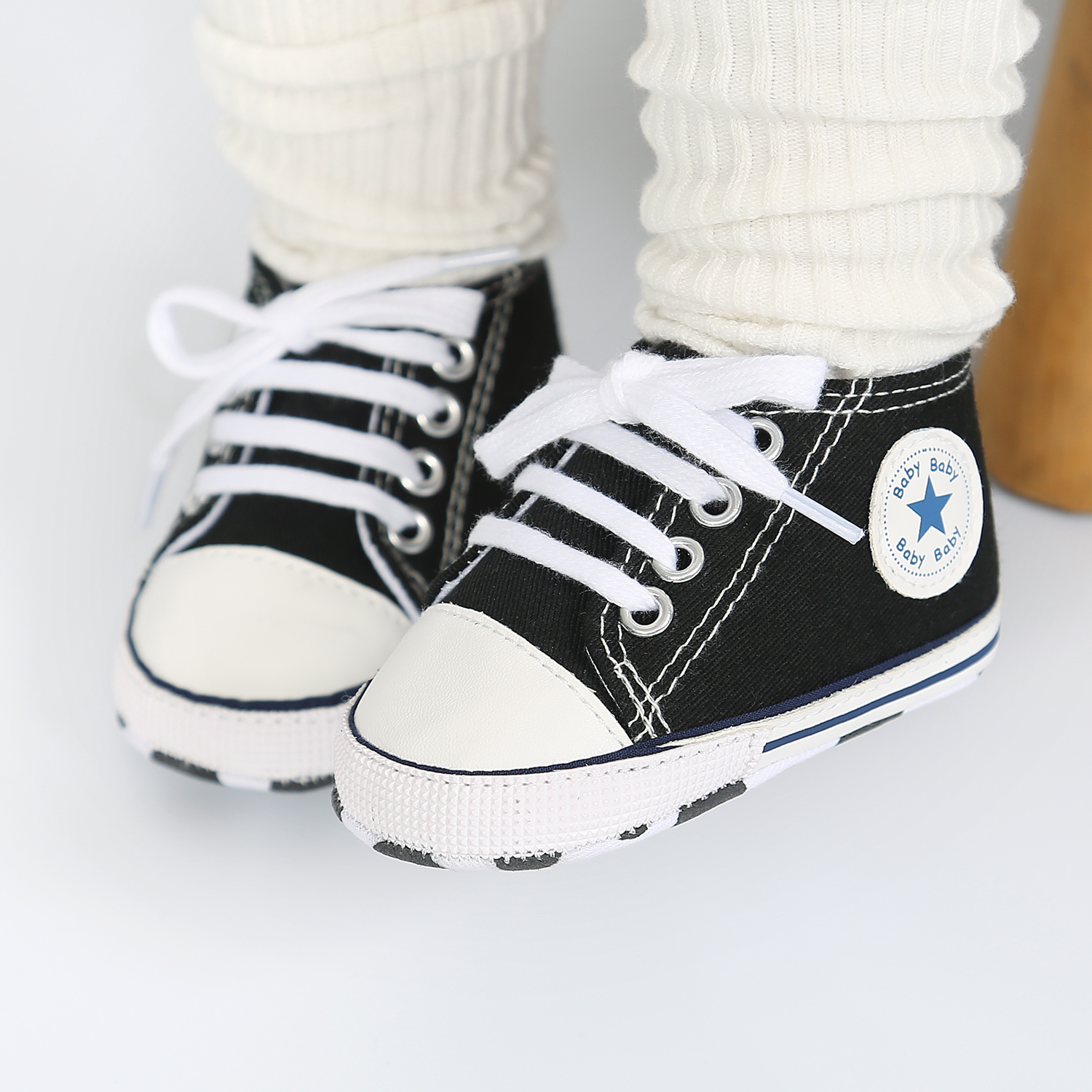 Newborn Boy Girl Shoes First Walkers Infant Baby Shoes White Soft Anti-Slip Sole Unisex Toddler Casual Canvas Crib Shoes 4