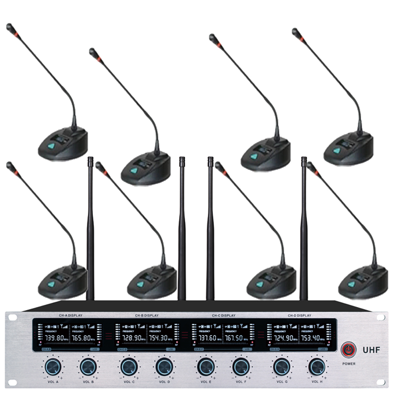 High Quality 8 Channel Wireless Conference Microphone System For Meeting Noise Canceling Desktop Standing Microphone