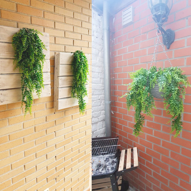 Artificial Plant Vines Wall Hanging Rattan Leaves Branches Outdoor Garden Home Decoration Plastic Fake Silk Leaf Green Plant Ivy 4