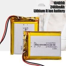 Li-po li íon lipo células para gps mp3 mp4 que conduz o registrador bateria recarregável 3.7v 2400mah li-po do polímero do lítio da bateria 104050