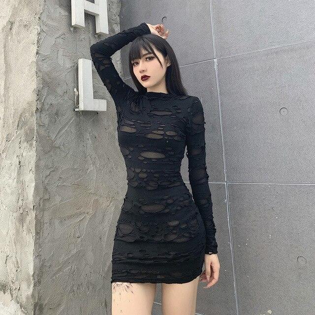 Helisopus New Gothic Black Mini Dress Streetwear Rock Punk Hollow Retro High Waist Long Sleeve Bodycon Party Dresses 2