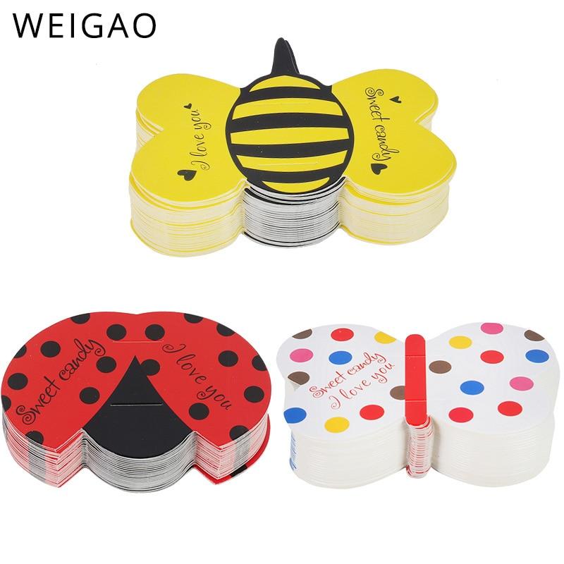 Weigao bonito abelhas concha borboleta doces, papel pirulito decoração cartão de casamento crianças festa de aniversário diy acessórios de presente